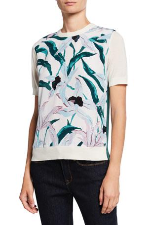 Tory Burch Floral Silk Print Front Short-Sleeve Merino Wool Sweater