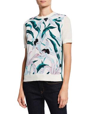 edfda704dd Tory Burch Floral Silk Print Front Short-Sleeve Merino Wool Sweater