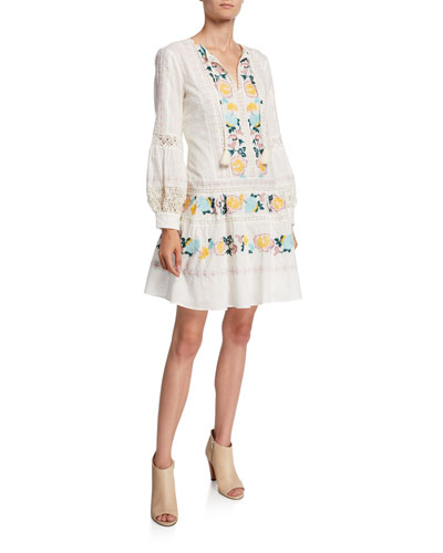 Boho Embroidered Long-Sleeve Tassel-Tie Dress