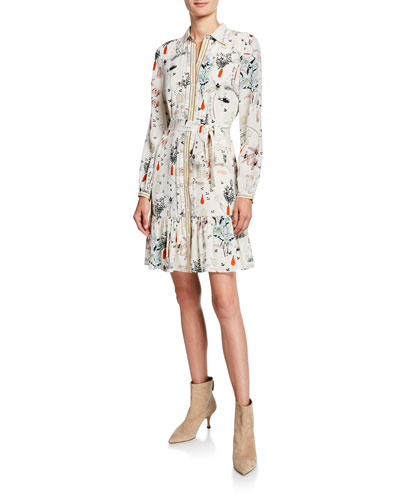 Cora Silk Printed Long-Sleeve Button-Down Ruffle Hem Dress