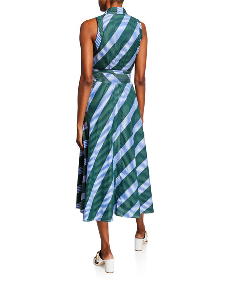 Tory Burch Candy Stripe Sleeveless Poplin Wrap Dress