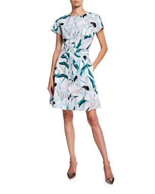 29f05cb5c3b7 Tory Burch Floral-Printed Short-Sleeve Cotton Shirtdress