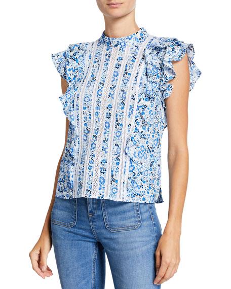 Veronica Beard Sol Printed Lace Ruffle Top