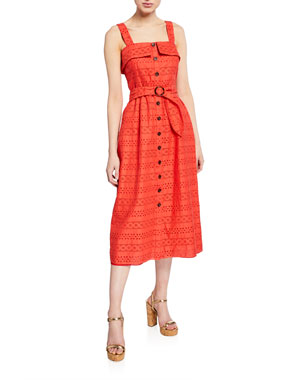 70460019cc6 Shoshanna Albi Eyelet Sleeveless Belted Cotton Dress