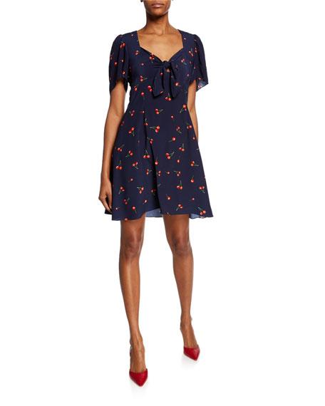 Shoshanna Dresses LAURET CHERRY-PRINT SWEETHEART SHORT-SLEEVE DRESS