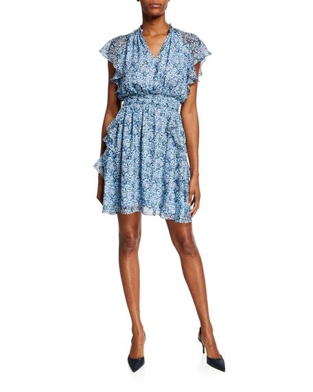 Shoshanna Dresses AUBAINE PRINTED V-NECK SMOCKED-WAIST MINI RUFFLE DRESS