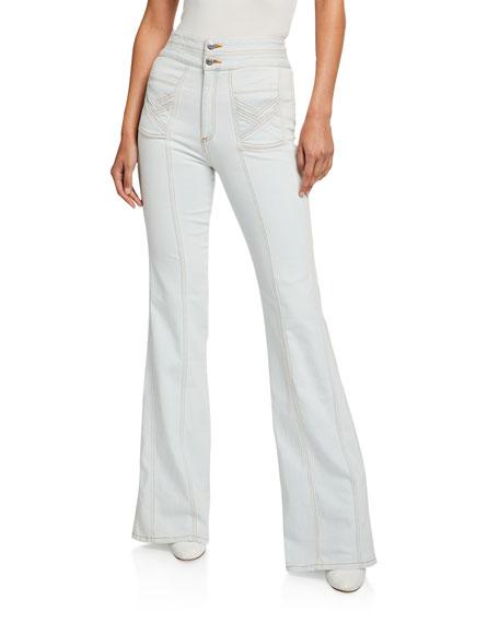 """Veronica Beard Farrah 11"""" Rise Wide-Leg Jeans"""