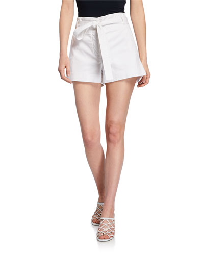 East Tie-Waist Stretch-Cotton Shorts