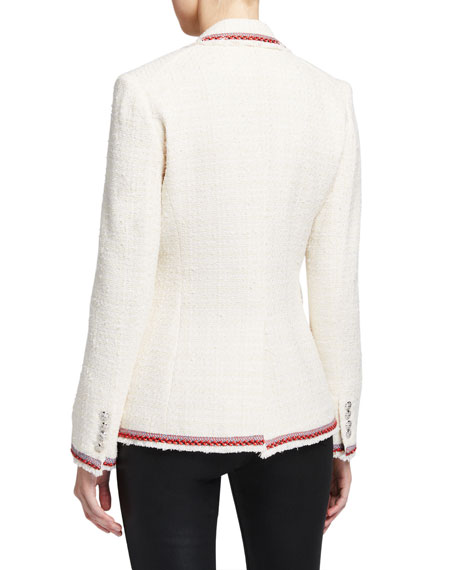 Veronica Beard Cutaway Contrast-Trim Jacket