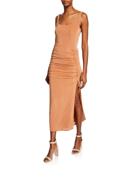 Jacynta Scoop-Neck Sleeveless Shirred Jersey Dress