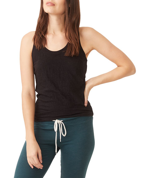 Monrow Scoop-Neck Granite Jersey Narrow Tank