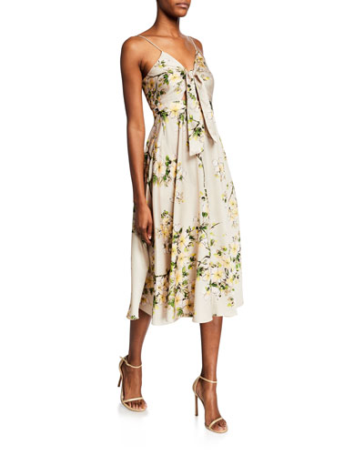 Sheila Floral-Print Spaghetti-Strap Tie-Front Midi Dress