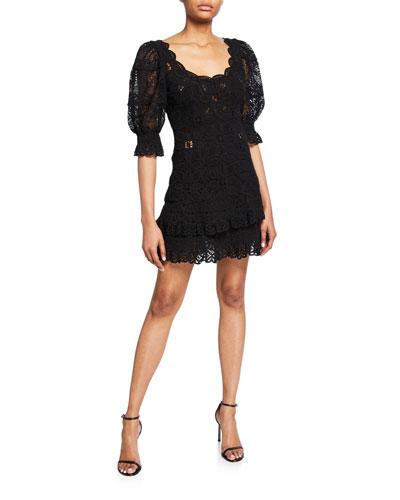 Scoop-Neck Puff-Sleeve Crochet Lace Ruffle Mini Dress
