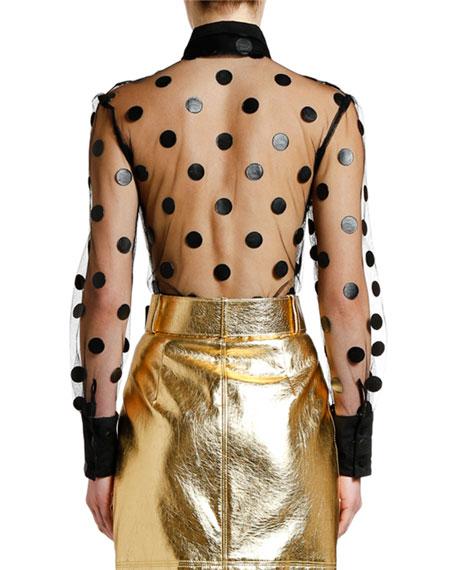 MSGM Sheer Long-Sleeve Polka Dot Blouse