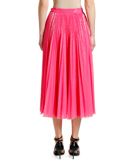 MSGM Shimmery Pleated Long Skirt