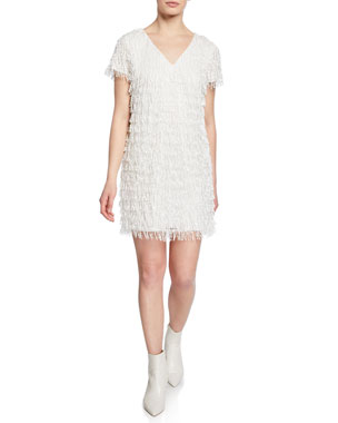 fc3a0585d2421 Aidan by Aidan Mattox Beaded Fringe V-Neck Short-Sleeve Mini Crepe Dress