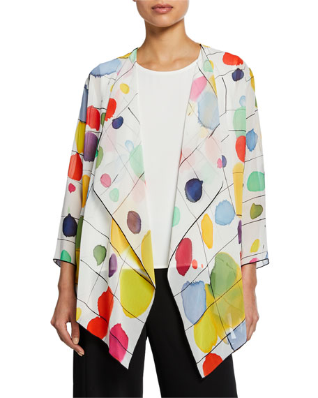 Caroline Rose Jackets PLUS SIZE PAINT BOX DRAPED JACKET