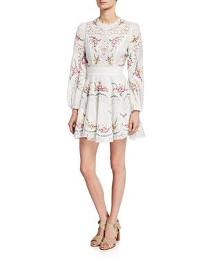 e753ae1bb5 Zimmermann Allia Cross-Stitch Long-Sleeve Dress
