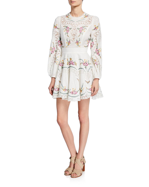 b68d1b2bdc7c Zimmermann Allia Cross-Stitch Long-Sleeve Dress | Neiman Marcus