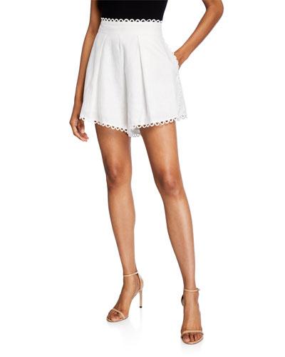 Allia High-Waist Printed Linen Shorts