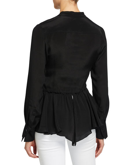 Image 2 of 2: See by Chloe Silk-Crepe Flounce Hem Button-Front Shirt