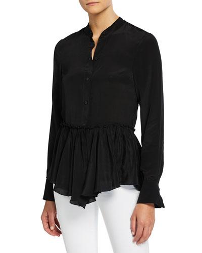 Silk-Crepe Flounce Hem Button-Front Shirt