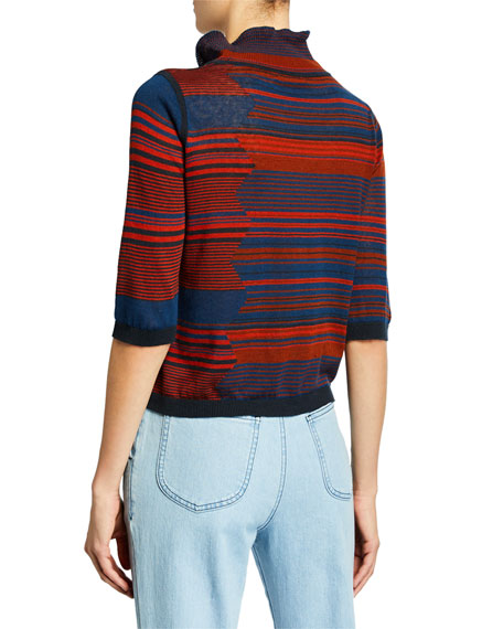 See by Chloe High-Neck Jacquard 3/4-Sleeve Sweater