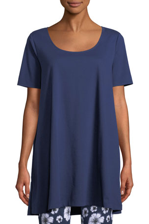 Joan Vass Petite Short-Sleeve Scoop-Neck Tunic