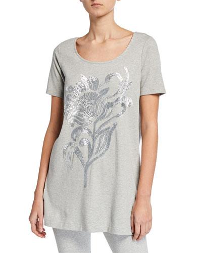 Plus Size Sequin Flower Short-Sleeve Cotton Interlock Tunic