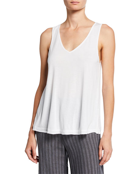 XCVI Plus Size V-Neck Jersey Tank with Voile Back