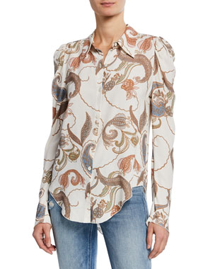 bea147cc28da0b See by Chloe Paisley-Print Long-Sleeve Button-Up Blouse
