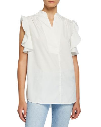 Feminine Poplin Sleeveless Ruffle Shirt