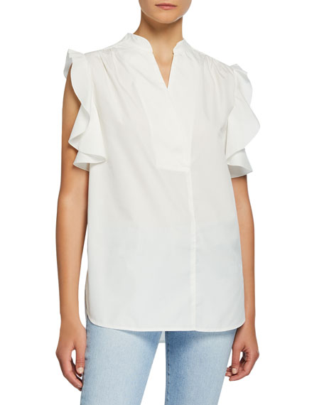 See by Chloe Feminine Poplin Sleeveless Ruffle Shirt