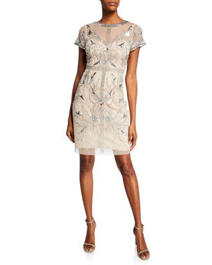 c9be8785d81 Aidan Mattox Beaded Mesh Short-Sleeve Illusion Cocktail Dress
