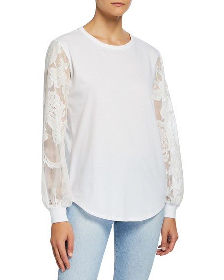 See by Chloe Crewneck Embroidered Long-Sleeve Cotton Tee