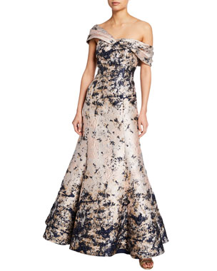 ca8293aac5 Aidan Mattox Off-the-Shoulder Brocade Mermaid Gown
