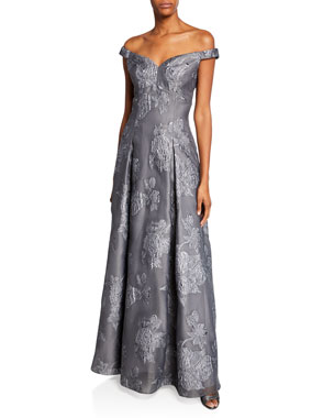 2f495d1742 Aidan Mattox Off-the-Shoulder Jacquard Gown with Pleated Skirt