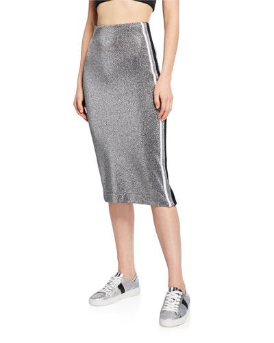Brazen Side Striped Pencil Skirt