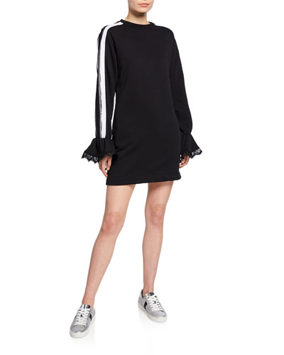 Gallant Lace Bell-Sleeve Side-Striped Dress