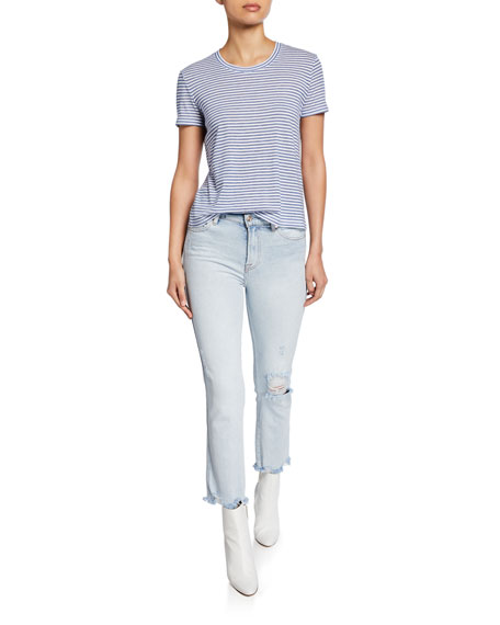 7 For All Mankind Edie Straight-Leg Cropped Jeans