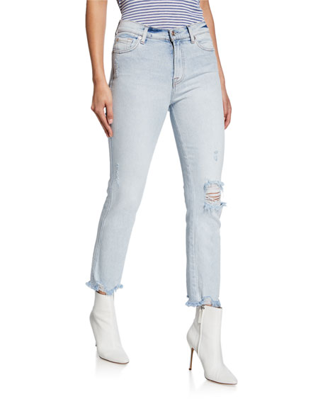 7 For All Mankind Jeans EDIE STRAIGHT-LEG CROPPED JEANS