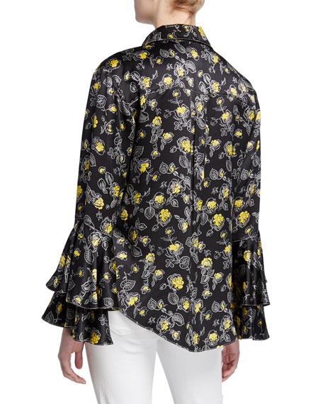 cinq a sept kirby floral-print silk ruffle-sleeve button-down top