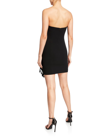 cinq a sept nat strapless mini tassel dress
