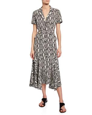 493d35b1e6f1 A.L.C. Clarkson Snake-Print Midi Shirt Dress