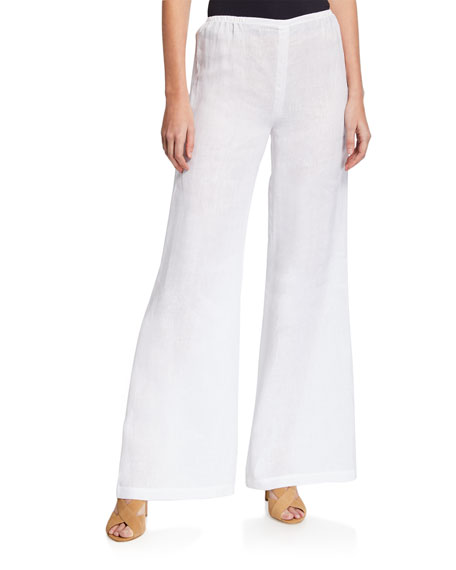 Caroline Rose Pants PETITE TISSUE LINEN WIDE-LEG PANTS