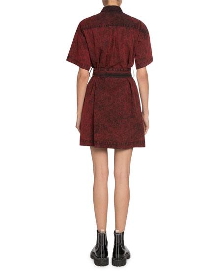 Proenza Schouler White Label Short-Sleeve Belted Snap-Front Shirt Dress