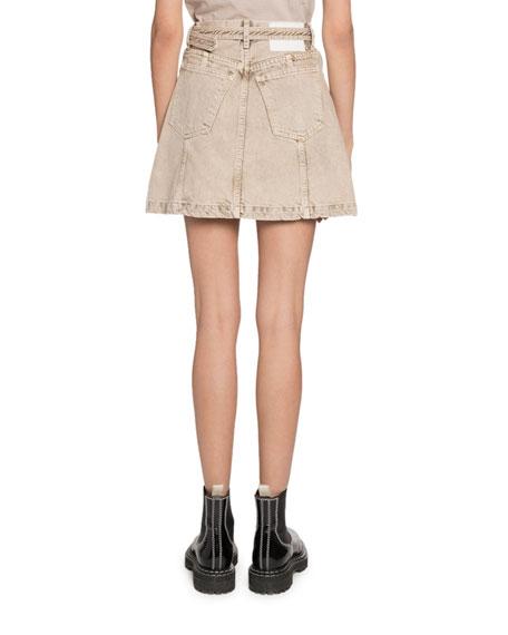 Proenza Schouler PSWL Belted Denim Short Skirt with Zippers