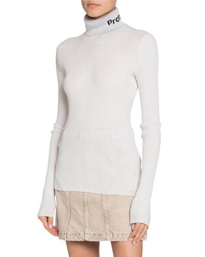 Long-Sleeve Knit Lightweight Turtleneck Top