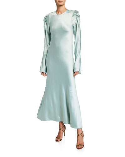 Love Me Knot Satin Long-Sleeve Dress