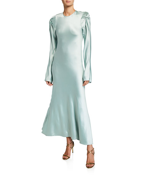 Maggie Marilyn Dresses LOVE ME KNOT SATIN LONG-SLEEVE DRESS